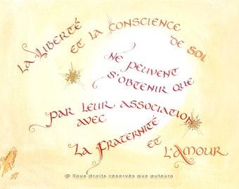 """Calligraphie française // Format medium // Impression couleur sur papier d'art // Style typographique carolingienne // """"Liberté"""""""