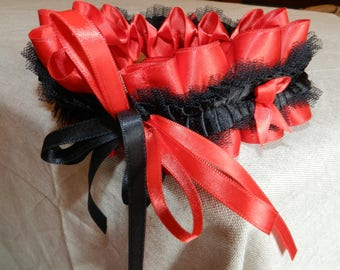 Red satin ribbon and Black Lace Garter.
