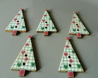 set of 5 embellishments original Christmas tree.