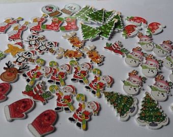 Set of 50 buttons Christmas embellishments