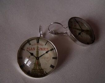 LIQUIDATION earrings silver cabochon 25 mm glass Eiffel Tower