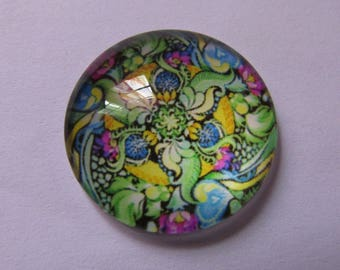 1cabochon glass flower theme 25mm