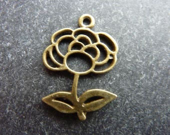 35 Rose charms antique bronze metal 21 * 18 * 1.5 mm