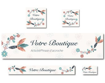 Banner Etsy Boho - Bohemian - Hippie chic feathers and flowers - shop banner