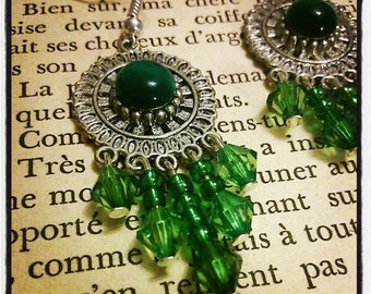 Earrings Silver Flower ear cat's eye, green seed beads and faceted