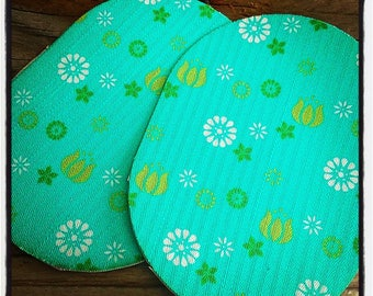 Pair of 2 elbow patches iron-on printed blue and green flowers