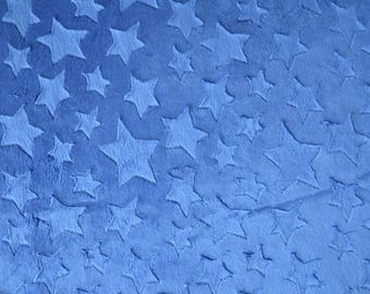 Midnight Blue minkee fabric stars