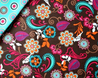 """Cotton fabric pattern """"FLORAL"""" - VERA BRADLEY chocolate-turquoise-pink"""