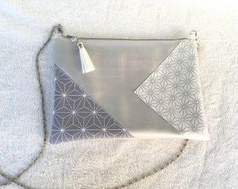 Pearl gray leatherette strap clutch bag / / silver chain / tassel