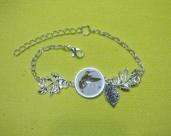 Bracelet silver metal cap Hummingbird design
