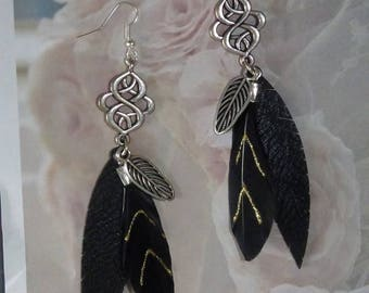 BLACK FEATHER EARRINGS AND NŒUD INFINITY