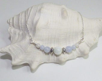 Beautiful bracelet in 925 sterling silver with Moonstone and blue chalcedony beads