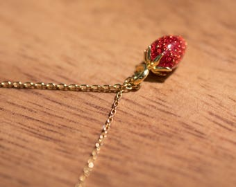 Gold Colored (Brass) Dainty Strawberry Necklace