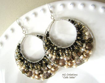 """CAFÉ LATTE"" WOVEN HOOP EARRINGS"