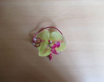 Brooch boutonniere wedding-green and fuchsia