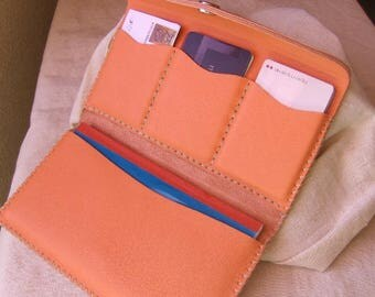 Checkbook - coin-apricot hand stitched leather card holder