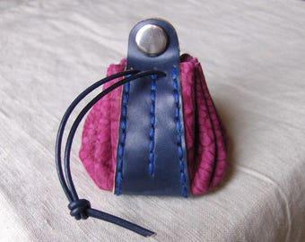 Worn purse wallet blue-fuchsia leather hand stitched