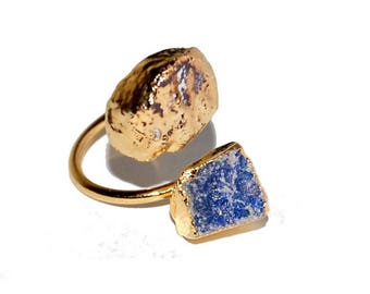 Thin adjustable lapis lazuli, pyrite drusy ring and plated gold 750/000