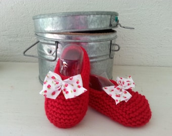 Raised(enhanced) by a bow - delicious little feet unbalanced 3-6 months booties