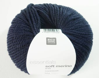 Wool Essentials soft merino aran Rico Design - 039 blue night - 100% Merino Wool