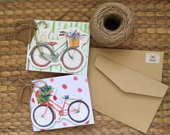 Set of Two Bike Handmade Greeting cards, Bicycle flower design, Birthday, Anniversary 3D card, Card for girlfriend, Blank paper card, Pink
