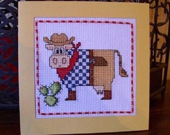 Hand embroidered card: cow cowboy