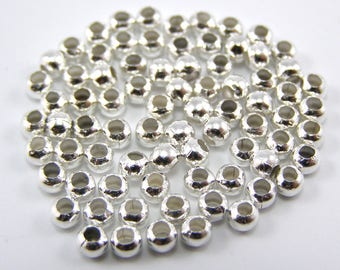 Lot 100 separator beads 3.5 mm antique silver hole 1.2 mm