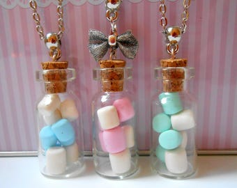 Marshmallow vial necklace