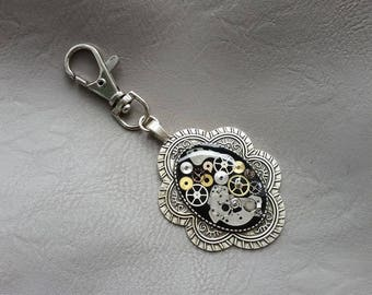 Metal pendant, resin and steampunk watch parts jewelry