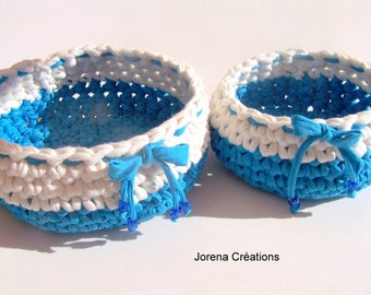 Pair of white/blue baskets