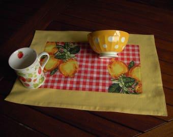 2 place mats, lemon, orange and yellow