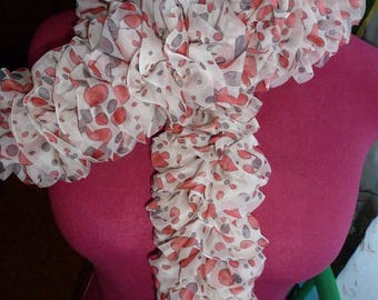 light tulle ruffle scarf ecru red and gray patterns, pattern very current