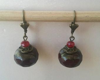 Brown Czech glass Pearl Earrings
