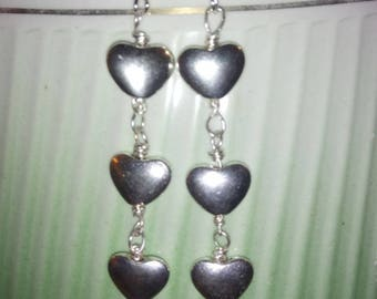 Earrings three hearts