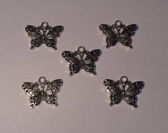 5 silver metal Butterfly charms