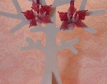 Earrings - red orchids.
