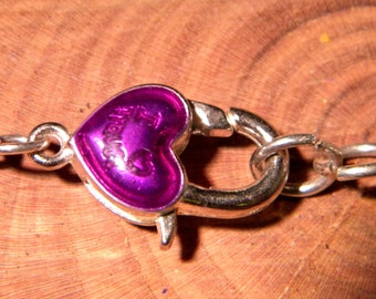 large lobster clasp - 23 x 11 mm purple enameled lobster - PF 135