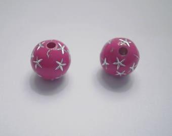 10 pearls shamballa 10 mm fuchsia rhinestone star