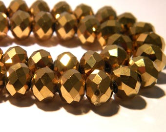10 pearls glass electroplate faceted - 10 x 8 mm - abacus - abacus - Pearl rondelle faceted Golden - F111-2