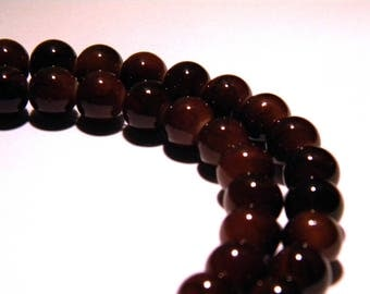 20 beads - 8 mm chocolate slightly mottled Brown - marbled glass PG54
