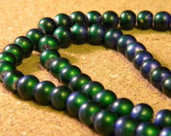 20 bead 6 mm-2 tone blue and green - PE261-5