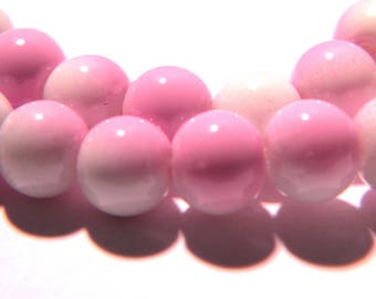30 beads - 10 mm - two-tone - lilac and White Pearl - glass - G65-5
