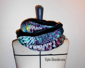 """Snood, double """"abstract graphic"""" tubular scarf model woman"""