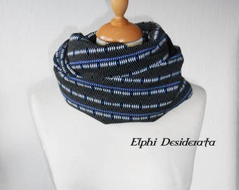 """Infinity scarf, double snood """"Geometric, psychedelic"""" round, tubular scarf mixed pattern."""
