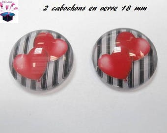 2 glass cabochons domed 18mm theme love Valentine heart