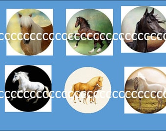 10 glass cabochons 25 mm horse theme