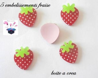 5 embellishments fraisse red with white dots 17 x 18 mm