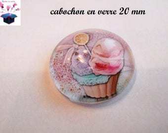 1 cabochon clear domed 20mm ice cream and cake theme
