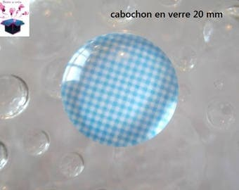 1 cabochon clear 20mm turquoise gingham theme