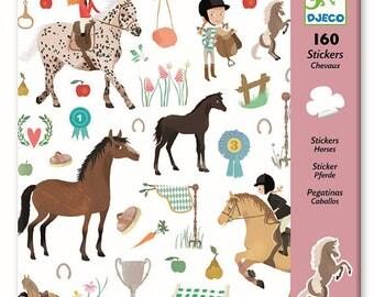 160 brand horse theme djeco stickers